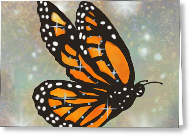 Glowing Butterfly Greeting Card by Audra D Lemke