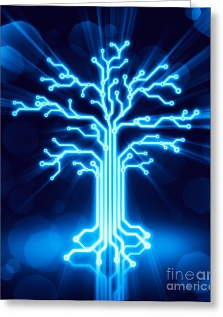 Glowing Digital Tree Circuits Concept Greeting Card