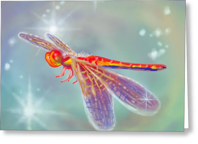 Glowing Dragonfly Greeting Card by Audra D Lemke