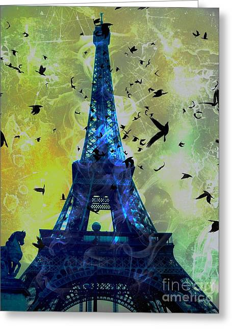 Glowing Eiffel Tower Greeting Card
