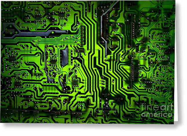 Glowing Green Circuit Board Greeting Card by Amy Cicconi