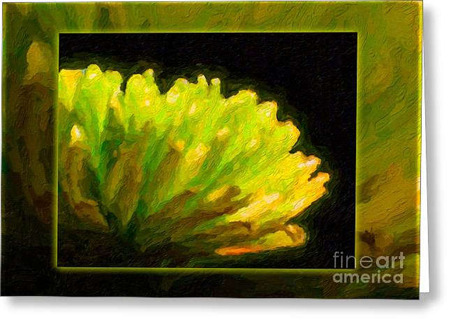 Glowing Green Flower Abstract Painting Greeting Card by Omaste Witkowski
