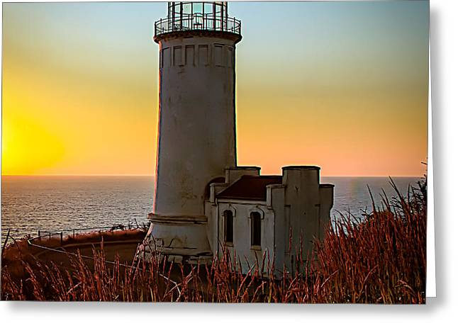 Glowing Lighthouse Greeting Card by Robert Bales