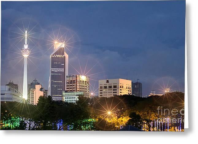Glowing Lights Of Kuala Lumpur - Malaysia - South East Asia Greeting Card