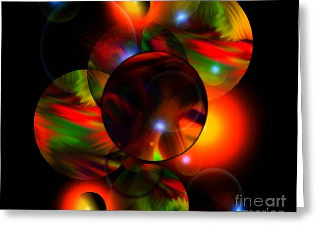 Glowing Marbles Greeting Card by Gayle Price Thomas