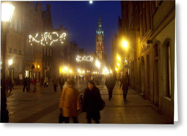 Glowing Old Gdansk Greeting Card