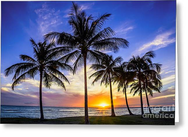 Glowing Orange Hawaiian Sunset Greeting Card