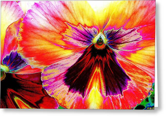 Greeting Card featuring the digital art Glowing Pansey by Suzanne Silvir