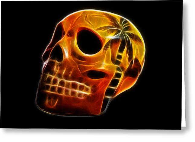 Glowing Skull Greeting Card by Shane Bechler