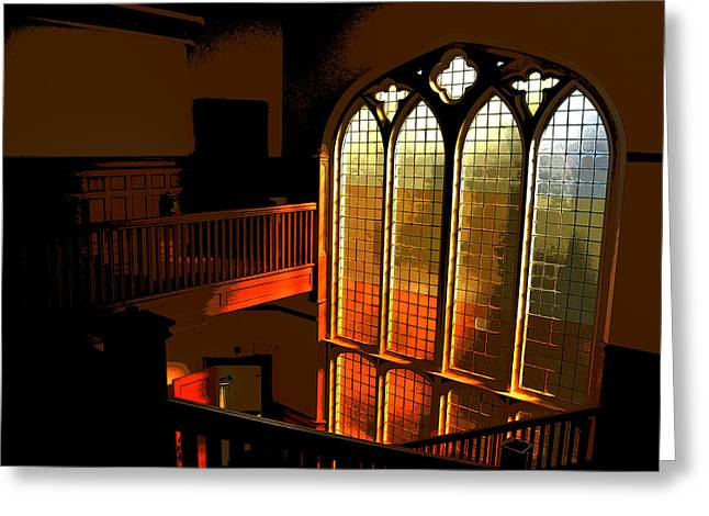 Greeting Card featuring the photograph Glowing Stairs by Rhys Arithson