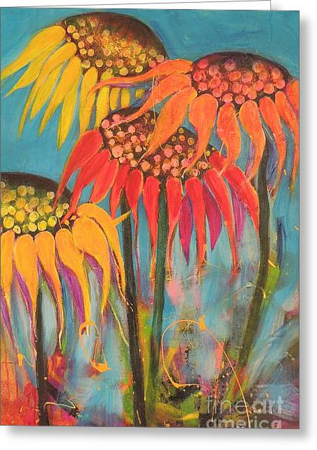 Greeting Card featuring the painting Glowing Sunflowers by Lyn Olsen