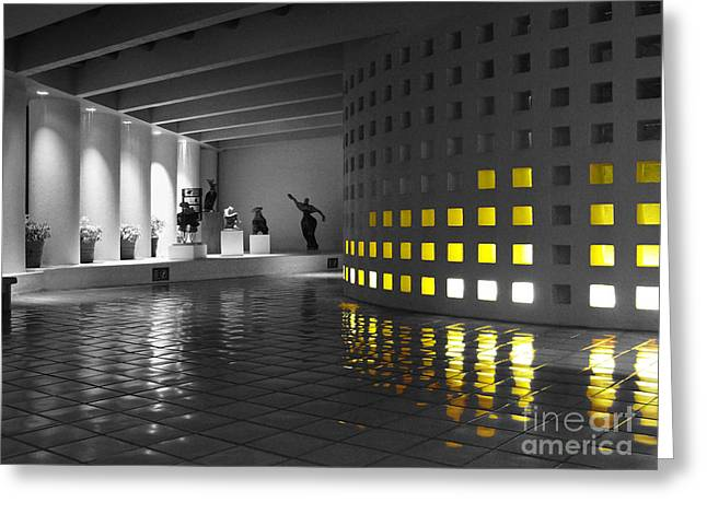 Greeting Card featuring the photograph Glowing Wall Color Spash Black And White by Shawn O'Brien