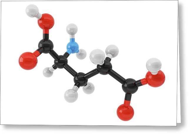 Glutamic Acid Amino Acid Molecule Greeting Card by Maurizio De Angelis/science Photo Library
