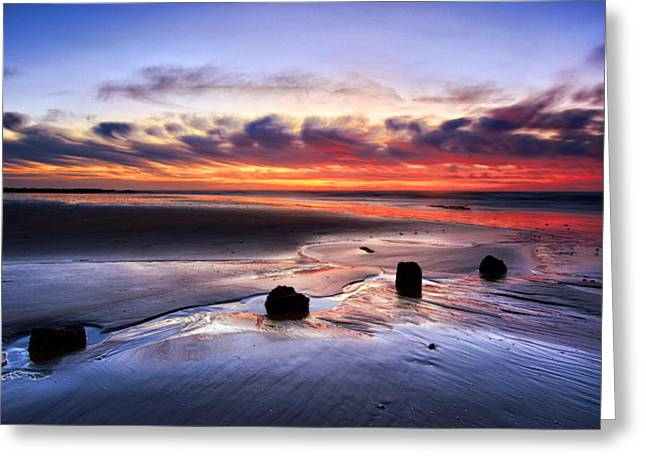 Glyne Gap Sunrise Greeting Card by Mark Leader