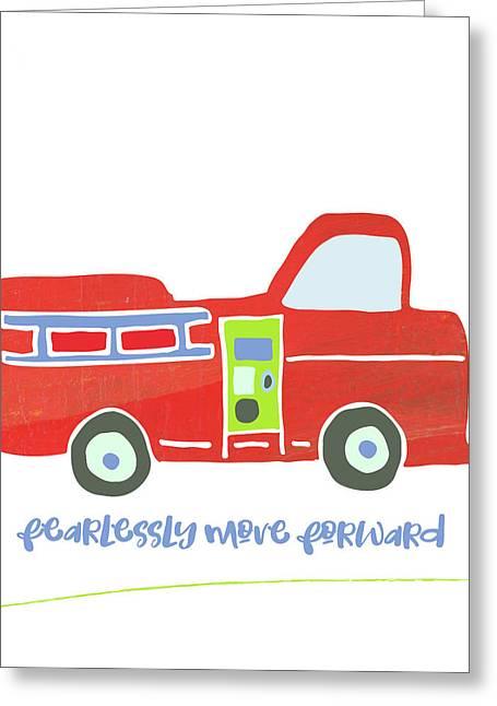 Go Fearlessly Firetruck Greeting Card by Pamela J. Wingard