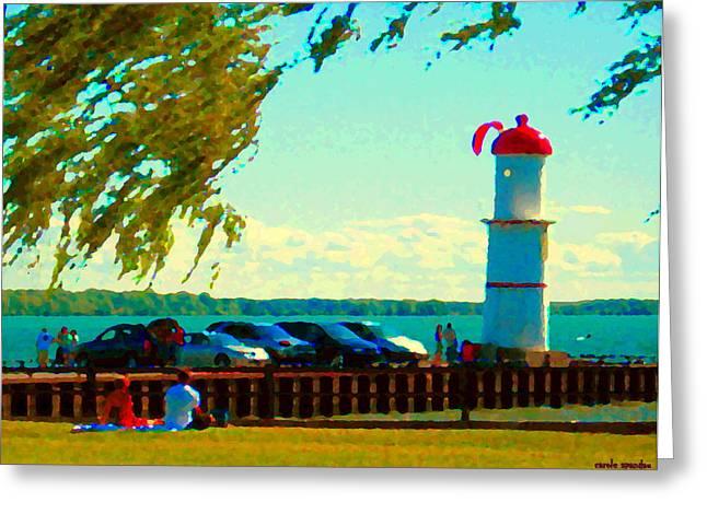 Go Fly A Kite Off A Short Pier Lachine Lighthouse Summer Scene Carole Spandau Montreal Art  Greeting Card by Carole Spandau