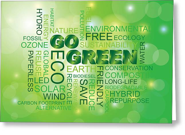 Go Green Word Cloud Green Background Greeting Card