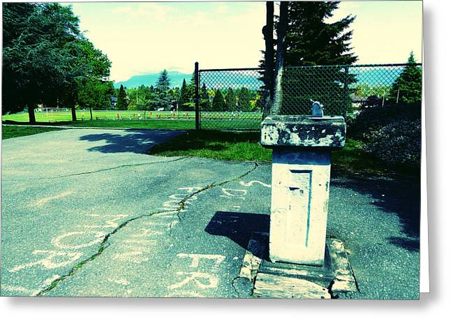 Greeting Card featuring the photograph School Drinking Fountain by Laurie Tsemak