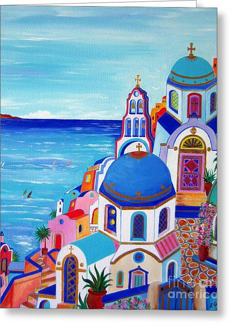 go to Santorini now Greeting Card