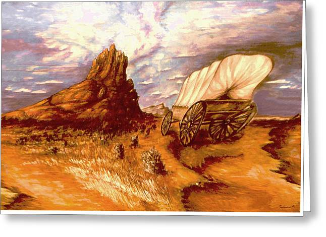 Go West 49ers - Surrealistic Painting Greeting Card by Art America Gallery Peter Potter