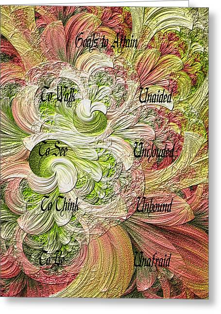 Greeting Card featuring the digital art Goals To Attain by Lea Wiggins