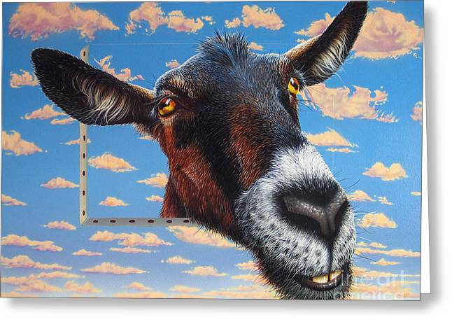 Goat A La Magritte Greeting Card
