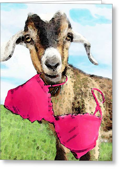 Goat Art - Oh You're Home Greeting Card by Sharon Cummings
