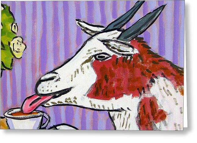 Goat At The Cafe Greeting Card by Jay  Schmetz