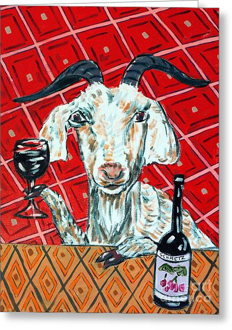 Goat At The Wine Tasting Greeting Card by Jay  Schmetz