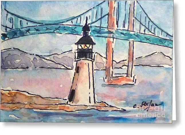Goat Island Lighthouse - Ri - Usa - Watercolor Greeting Card