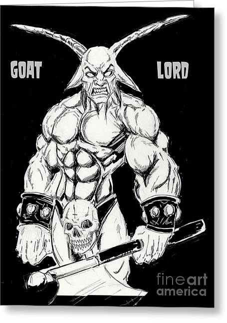 Goat Lord Greeting Card by Alaric Barca