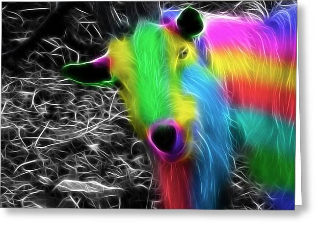 Goat Of Colour Greeting Card by Jo Collins