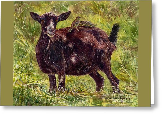 Goat Piggybackers Greeting Card