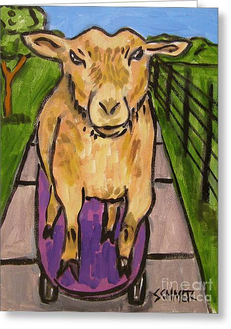 Goat Skateboarding Greeting Card by Jay  Schmetz