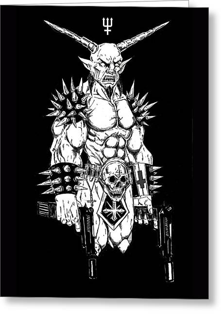 Goatlord Hit List Black Greeting Card by Alaric Barca