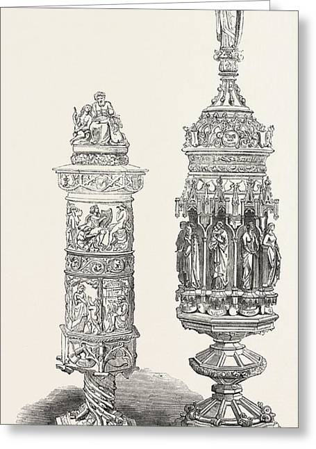 Goblet Drinking-cup Greeting Card by Conrad Knoll, And Johann Halbig, Of Bavaria, German School