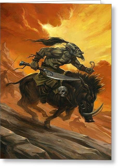 Goblin Charge Greeting Card by Alan Lathwell