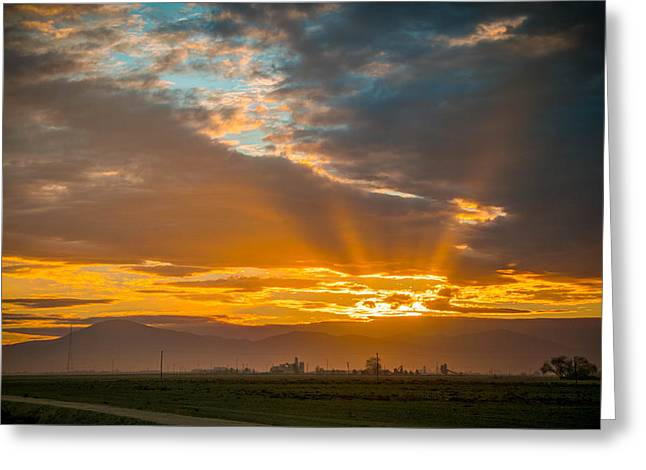 God Beams And Sunrise Greeting Card by Connie Cooper-Edwards