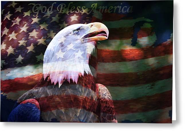 God Bless America Greeting Card by Deena Stoddard