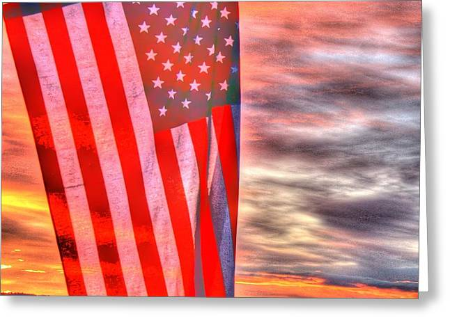 God Bless America Over Puget Sound Greeting Card