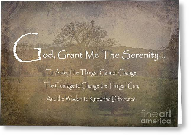 God Grant Me The Serenity Nature Scene Greeting Card by Adri Turner