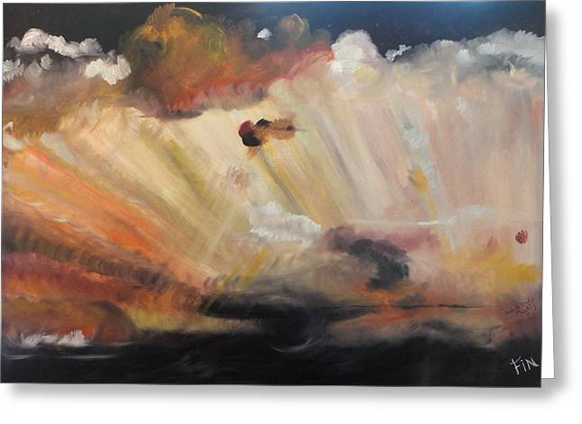 Greeting Card featuring the painting God Is Truly Mighty by PainterArtist FIN