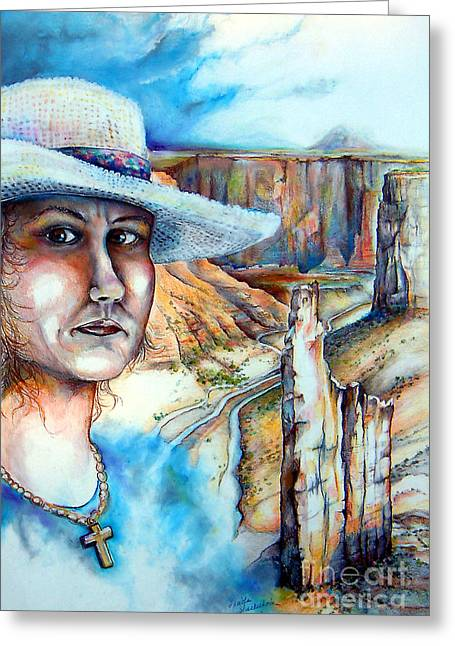 Greeting Card featuring the drawing God by Linda Shackelford