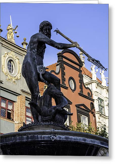 God Of Sea. Neptune's Statue. Greeting Card
