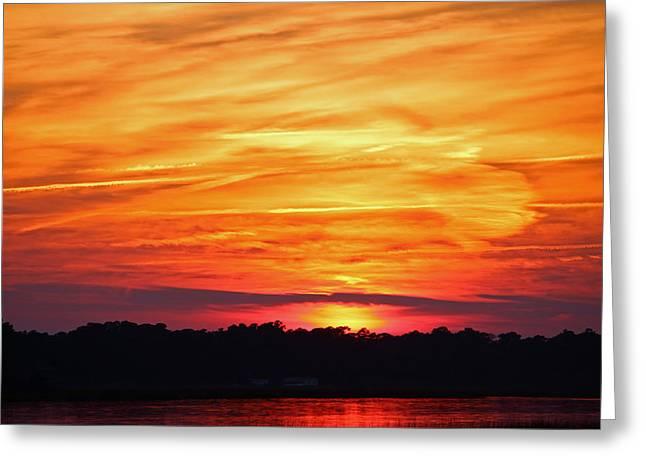 God Paints The Sky Greeting Card by Cynthia Guinn