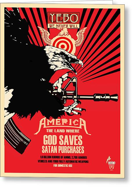 God Saves And Satan Purchases Greeting Card by Philip Slagter