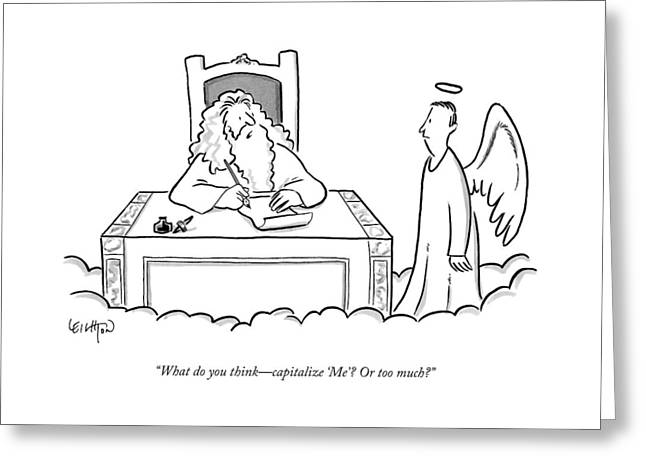 God Sits At His Desk Writing Something And Asks Greeting Card