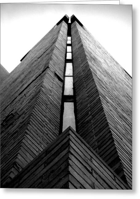 Goddard Stair Tower - Black And White Greeting Card by Joseph Skompski