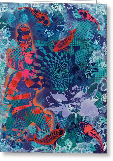 Goddess And Koi Contemplate Vortex Greeting Card by Paula Ferree