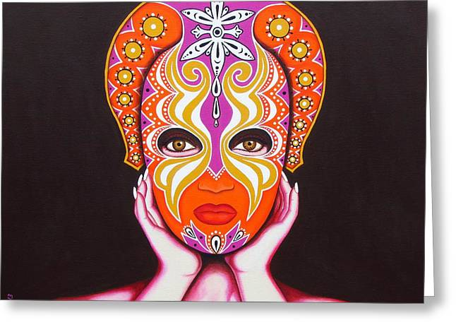 Goddess In Pink Greeting Card by Joseph Sonday